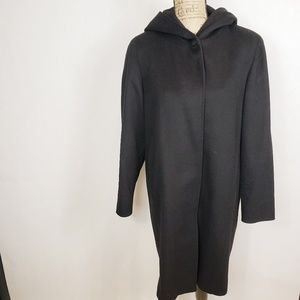 Anne Klein black wool coat with hood